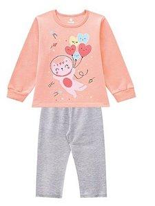 Pijama Infantil Moletinho Gatinho Brilha no Escuro - Coral e Cinza