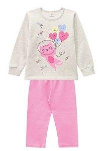 Pijama Infantil Moletinho Gatinho Brilha no Escuro - Rosa e Cinza