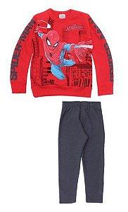 Conjunto de Blusa e Calça Moletom - Homem Aranha - Vermelho e Cinza - Brandili