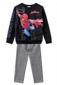 Conjunto de Blusa e Calça Moletom - Homem Aranha - Preto e Cinza