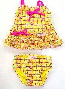 Biquini Regata e Calcinha - Lilica Ripilica Baby - Amarelo e Rosa