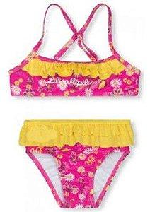 Biquini Flores e Babados - Lilica Ripilica Baby - Rosa e Amarelo
