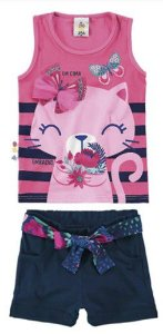 Conjunto de Blusa + Shorts - Gatinho - Rosa