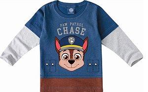 Camiseta Infantil Patrulha Canina Chase - Azul e Cinza - Malwee