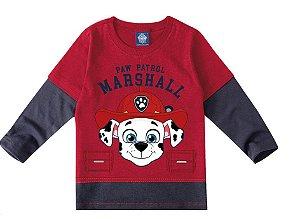 Camiseta Patrulha Canina Marshall - Vermelha e Cinza - Malwee