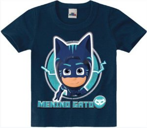 Camiseta PJ Masks Menino Gato - Azul Marinho