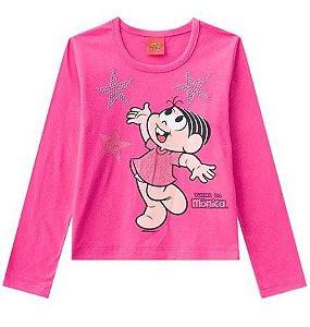 Blusa da Mônica - Rosa com Glitter