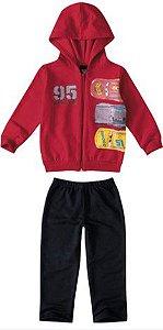 Conjunto de Jaqueta de Moletom e Calça dos Carros - Mcqueen - Vermelho e Azul Marinho - Malwee
