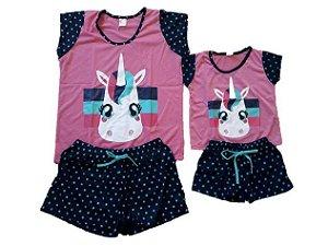 Pijama Short Doll Unicórnio- Coleção Mãe e Filha