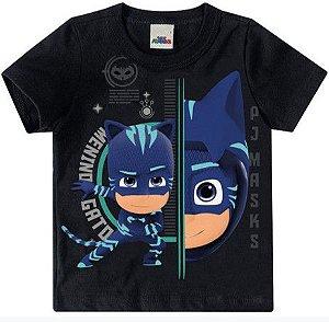 Camiseta PJ Masks Menino Gato - Preta