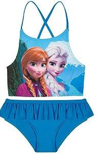 Biquini Infantil Menina Frozen Azul Turquesa - Tiptop