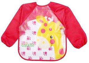Babador Bebê Menina Manga Longa Girafa Rosa