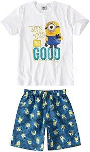 Conjunto de Camiseta e Bermuda - Minions - Branco e Azul - Malwee