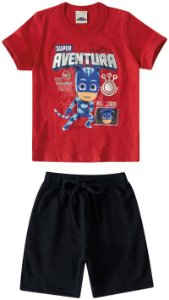Conjunto  Infantil Camiseta e Bermuda Pj Masks - Vermelha - Malwee