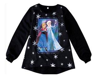 Moletom Felpado Preto - Anna e Elsa - Disney Frozen