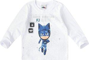 Blusa Menino Gato - Super Aventura PJ Masks - Branca