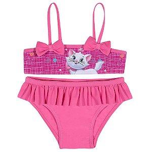 Biquini Infantil Gatinha Marie Disney Top e Calcinha - Rosa - Tiptop