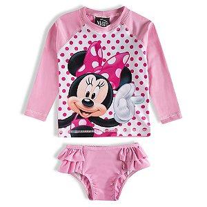 Conjunto Proteção UV 50 FPS  - Minnie - Disney - Rosa - Tiptop