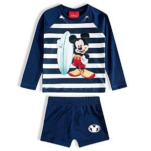Conjunto Mickey Disney Proteção UV 50 FPS  - Azul - Tiptop