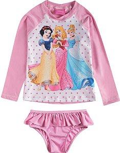 Conjunto Princesas da Disney Proteção UV 50 FPS Rosa - Tiptop