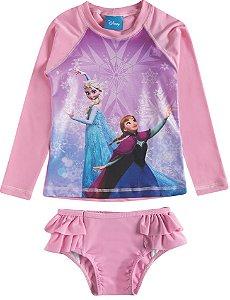 Conjunto Proteção UV 50 FPS  - Disney Frozen - Rosa
