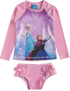 Conjunto Proteção UV 50 FPS  - Disney Frozen - Rosa - Tiptop