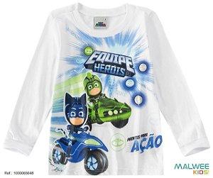 Blusa Infantil Equipe PJ Masks Heróis em Ação - Branca - Malwee