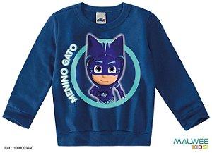 Moletom Felpado PJ Masks Menino Gato - Azul - Malwee