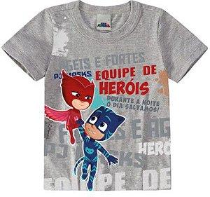 Camiseta Infantil PJ Masks Equipe de Heróis - Cinza - Malwee
