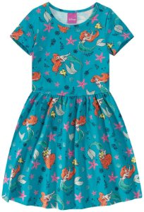 Vestido da Princesa Ariel - Verde - Malwee