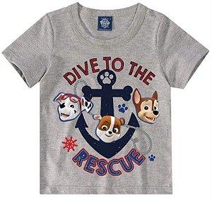 Camiseta da Patrulha Canina - Marshall, Chase e Rubble - Cinza - Malwee