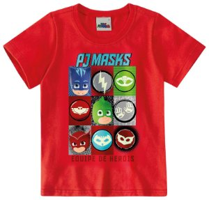 Camiseta PJ Masks - Equipe de Heróis - Vermelha - Malwee