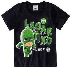 Camiseta Infantil PJ Masks Lagartixo Preta - Malwee