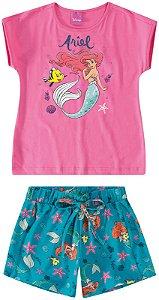 Conjunto de Blusa e Shorts - Princesa Ariel - Disney - Rosa e Verde - Malwee