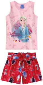 Conjunto de Blusa e Shorts - Elsa - Disney Frozen 2
