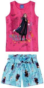 Conjunto Blusa e Shorts Anna - Disney Frozen 2 - Rosa e Azul - Malwee