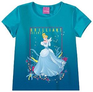 Blusa Princesa Cinderela - Princesas da Disney - Azul Turquesa - Malwee