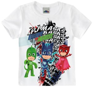 Camiseta PJ Masks - Branca