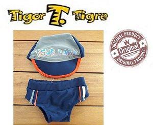 Sunga e Touca de Bebê da Tigor - Azul Marinho