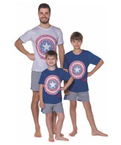 Pijama do Capitão América Marvel - Coleção Pai e Filho -Branco e Azul