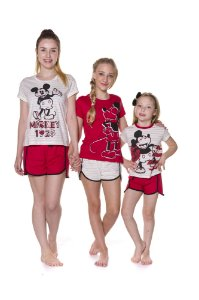 Pijama Short Doll do Mickey - Coleção Mãe e Filha - Vermelho e Branco