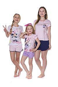 Pijama Short Doll Minnie Disney - Coleção Mãe e Filha - Rosa