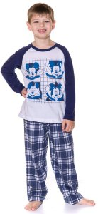 Pijama Infantil Mickey Xadrez Azul Marinho - Disney