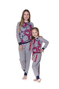 Pijama Moletinho Turma da Mônica - Coleção Mãe e Filha - Cinza e Vermelho