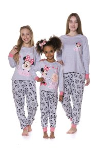 Pijama Moletinho Minnie Disney - Coleção Mãe e Filha -Cinza