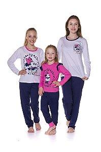 Pijama Minnie Disney - Coleção Mãe e Filha - Azul Marinho Branco e Rosa