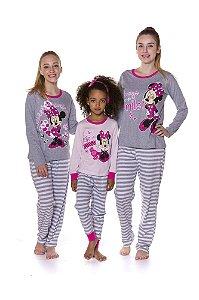 Pijama Minnie Disney - Coleção Mãe e Filha - Branco, Cinza e Rosa