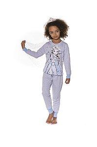 Pijama Infantil Moletinho Elsa Disney Frozen II - Capa Removível - Azul