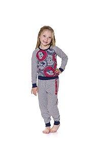 Pijama Infantil Moletinho Turma da Mônica - Cinza e Vermelho
