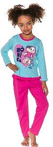 Pijama Infantil Mônica Azul e Rosa - Coleção Mãe e Filha